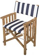 WhiteCap 61050 Teak Director´s Chair II with Navy/White Striped Seat Cushion