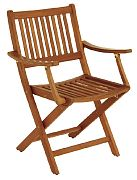 WhiteCap 63070 Teak Folding Deck Chair with Arms